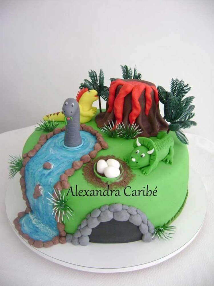 This cake is from Alexandra at Cakes by Alexandra. She started business in 2009 and has always loved baking. This is ideal for any dinosaur and volcano lover and your own little topper like the one above would look perfect on this cake. Why not have a go at something similar?