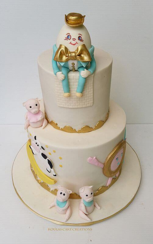 This Nursery Rhyme cake is from Koulas Cake Creations, they specialise in cake decorating and are based in Sydney, Australia. This is a perfect cake for a child's birthday party and is a great nursery rhyme themed cake. We love the soft colours and touches of gold to really make this cake stand out. We're sure the kids would love it!
