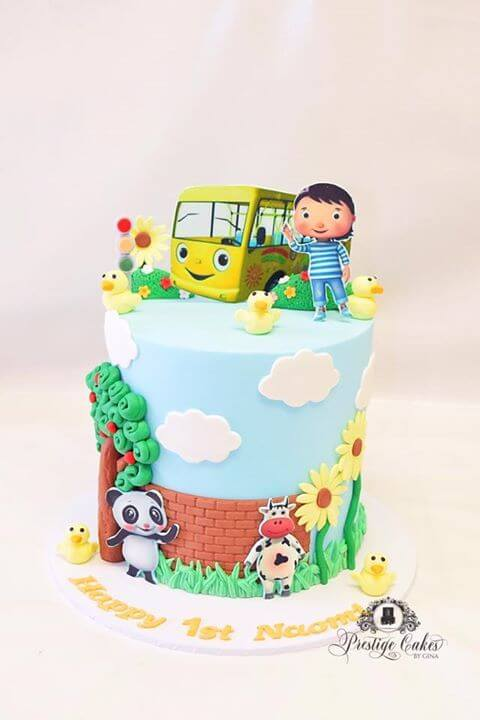 Our final cake is from Prestige Cakes by Gina. An Australian based baker creating custom bakes. This one is very cute and a lovely party piece. It would look great on a cake table and the colours are perfect for children.
