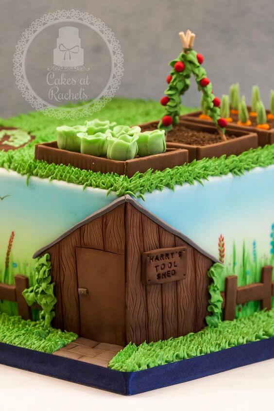 This final cake is from Cake at Rachel's based in a small village just outside Blackpool. She creates bespoke and beautiful cakes. This allotment cake looks wonderful with the edible soil and tiny gum paste allotment. The detailing of the tool shed is also exquisite!