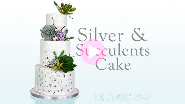 Silver and Succulents Cake